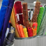 Bright fabric rolls